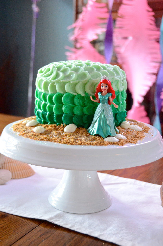 Little Mermaid birthday party cake ombre