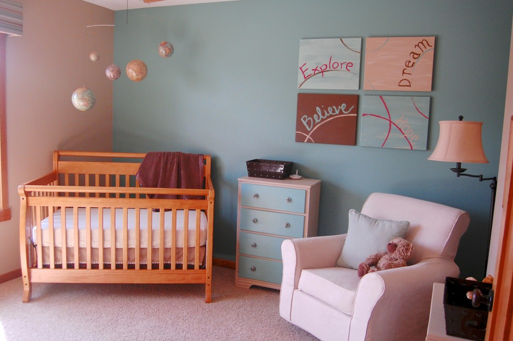 teal and tan nursery with globe mobile
