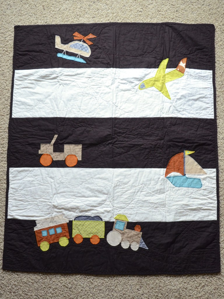 boy transportation nursery quilt